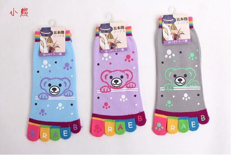 Wiggle Sock Fashion Five toe sock women Sweet Girl type (Hello Kitty cat / Bear / Striped / Surprise / leopard cat ) short socks - Cerkos  - 3