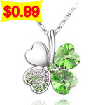 2014 Free Shipping women accessories 18KGP Austrian Crystal four Leaf Leaves Clover 17 colors necklace pendant jewelry 9554 - Cerkos.com