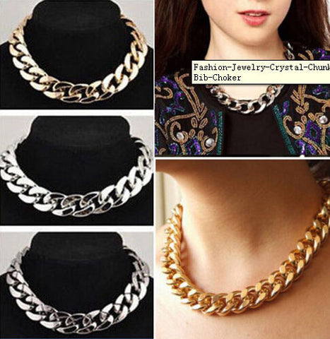 Fashion Punk Style Jewelry Crystal Chunky Statement Chain Pendant Necklace Bib Choker - Cerkos.com