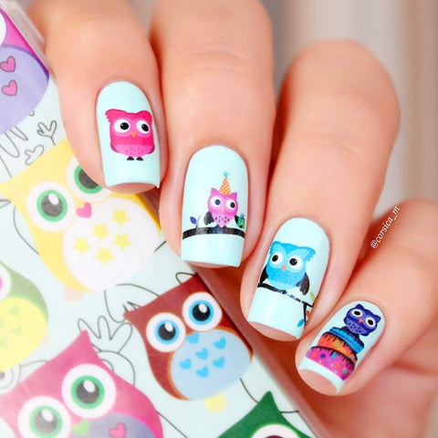 2 Patterns/Sheet Cartoon Owl Nail Art Water Decals Transfer Sticker BORN PRETTY BP-W09 - Cerkos.com