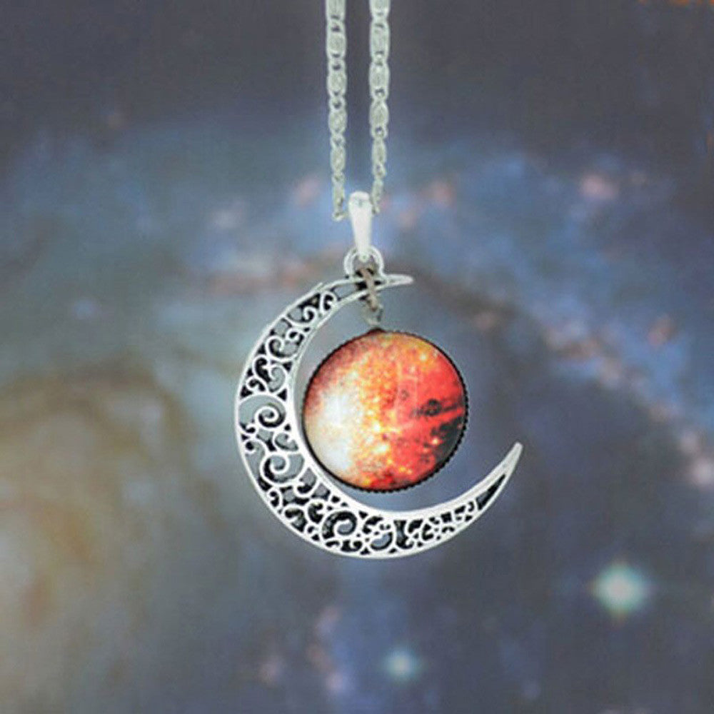 Brand Fashion Jewelry Choker Necklace Glass Galaxy Lovely Pendant Silver Chain Moon Necklace & Pendant - Cerkos  - 12