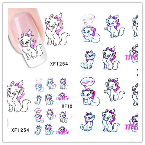 1 Aheet XF1254C Cartoon Style Watermark Water Transfer Design Cute Cats Tip Nail Art Sticker Nails Decal Manicure Tools - Cerkos.com