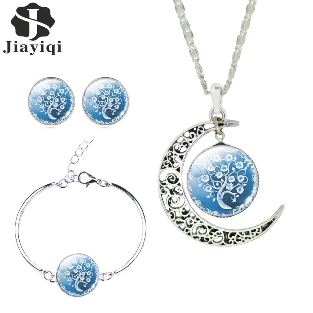 Women Fine Romantic Sterling Silver Jewelry Sets White Blue Tree Kalung Love Moon Picture Glass Pendant Necklace Stud