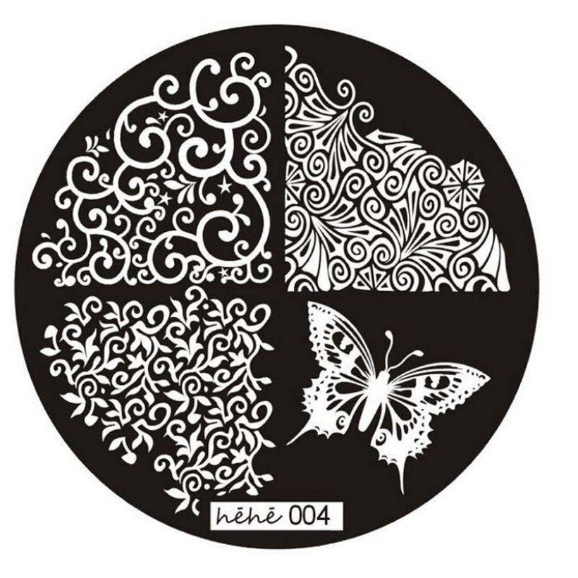 Creative 2015 Butterfly Lace Template Pattern Nail Art Image Stamping Steel Plates 5.5cm Manicure Template - Cerkos