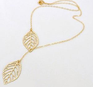 YANA Jewelry 2015 New Gold And Sliver Two Leaf Pendants Necklace Chain multi layer statement necklaces Woman Gift  SALE 50 - Cerkos  - 2