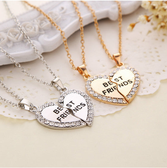 Charming Splice Heart Pendant Best Friend Letter Necklace Women Gifts 2 Color Pick Jewelry Free Shipping - Cerkos.com