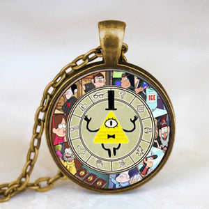 Steampunk Drama Gravity Falls Mysteries BILL CIPHER WHEEL Pendant Necklace glass doctor who chain 1pcs Glass men Pendant jewelry - Cerkos  - 10