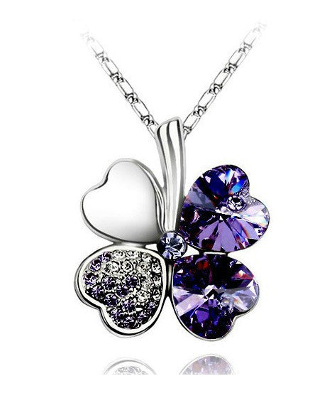 Free Shipping Factory Wholesale Price 18K GP Austrian Crystal Clover 10 colors mixed 4 Leaf Leaves pendant Necklace jewelry 9554 - Cerkos  - 8