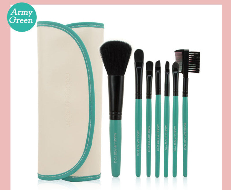 Professional 7 PCS Makeup Brushes Set Tools Make-up Toiletry Kit Wool Brand Make Up Brush Set Case Cosmetic Foundation Brush - Cerkos  - 8