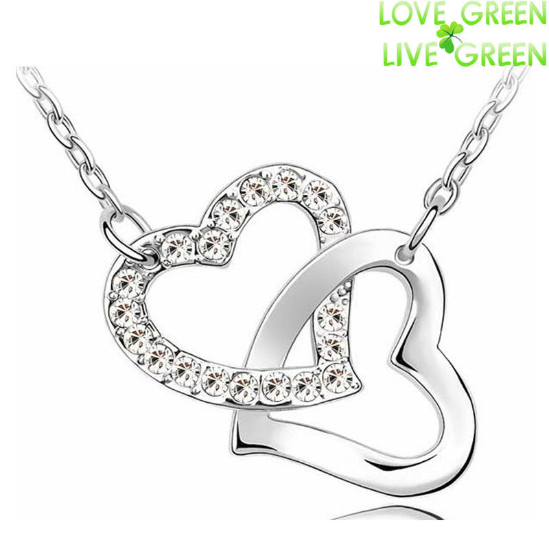 2014 valentives gift Wholesales brand Fashion 18K gold plate Import Czech Rhinestones Double Heart Pendant Necklace Jewelry 4022 - Cerkos.com