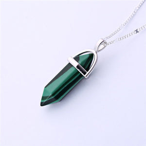 Gros Collier Femme 2015 Multi Color Quartz Necklaces Pendants Natural Stone Bullet Shape Crystal Necklace For Women Bijoux Femme - Cerkos  - 6