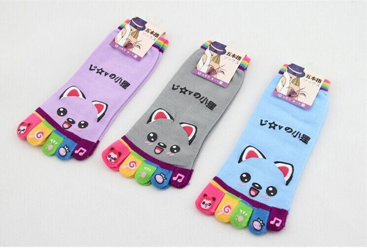 Wiggle Sock Fashion Five toe sock women Sweet Girl type (Hello Kitty cat / Bear / Striped / Surprise / leopard cat ) short socks - Cerkos  - 6