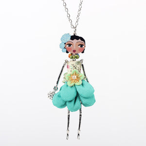 Bonsny doll necklace dress coral trendy new 2015 acrylic alloy cute girl women flower figure pendant fashion jewelry accessories - Cerkos  - 6