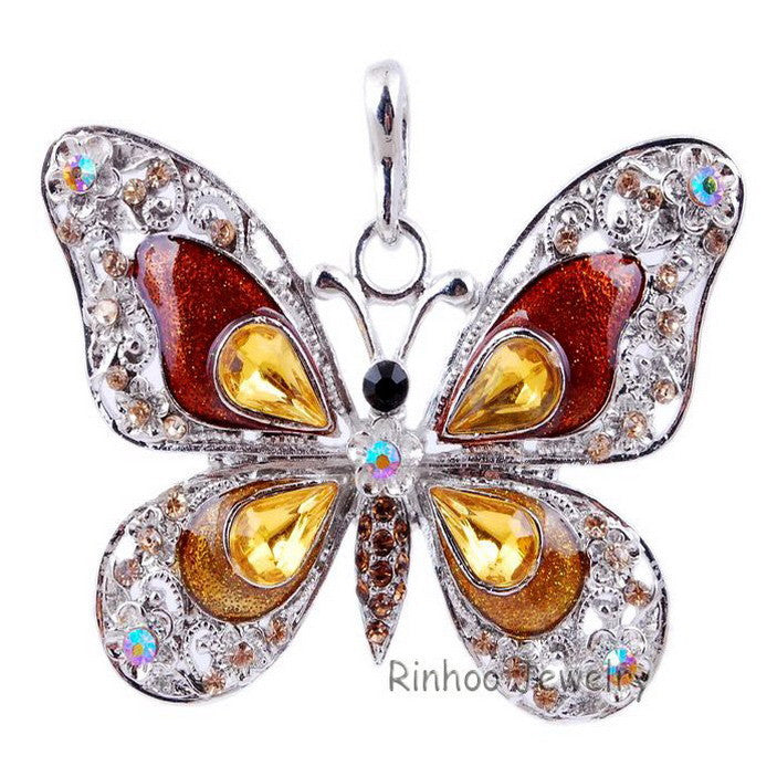 Beautiful Rhinestone Butterfly Long Necklaces Sweater Necklaces  Fashion Necklace For Women Necklace Pendants Silver Jewelry - Cerkos  - 2