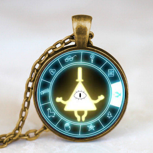 Steampunk Drama Gravity Falls Mysteries BILL CIPHER WHEEL Pendant Necklace glass doctor who chain 1pcs Glass men Pendant jewelry - Cerkos  - 9