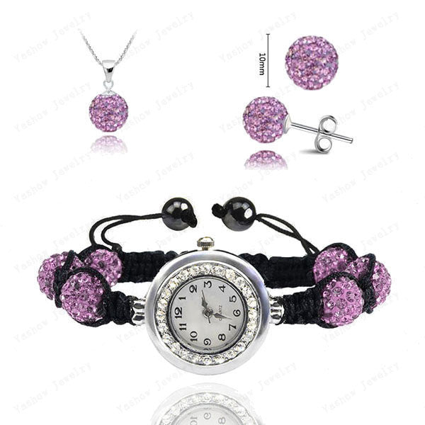 Fashion Watch Crystal Shamballa Set Crystal Pendant+Bracelet+Crystal Earring Jewelry Set 10MM Disco Ball Free Shipping - Cerkos  - 17