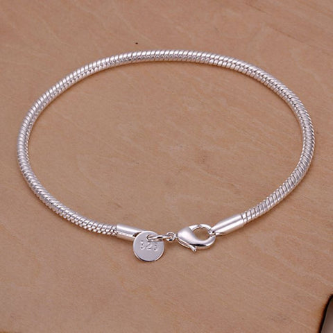 silver plated bracelet, 925 jewelry silver plated fashion jewelry Twisted Line Bracelet