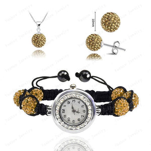 Fashion Watch Crystal Shamballa Set Crystal Pendant+Bracelet+Crystal Earring Jewelry Set 10MM Disco Ball Free Shipping - Cerkos  - 18