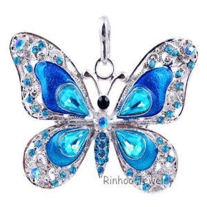 Beautiful Rhinestone Butterfly Long Necklaces Sweater Necklaces  Fashion Necklace For Women Necklace Pendants Silver Jewelry - Cerkos  - 4