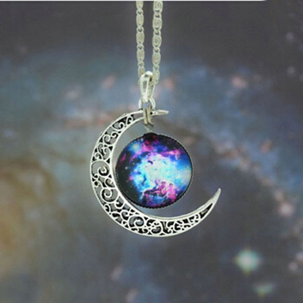 Brand Fashion Jewelry Choker Necklace Glass Galaxy Lovely Pendant Silver Chain Moon Necklace & Pendant - Cerkos  - 4
