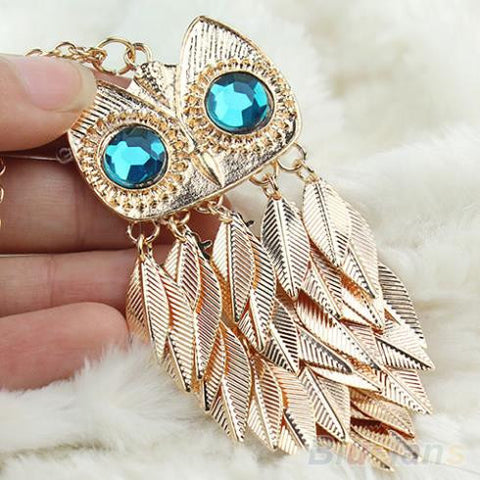 New  Fashionable Stylish Gold Leaves Owl Charm  Chain   Long  Women Pendant Necklace 1DWI - Cerkos