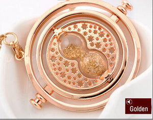 Hot Sale Harry Potter Time Turner Necklace Hermione Granger Rotating Spins Gold Hourglass - Cerkos  - 6