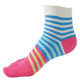 Wiggle Socks Creative Fashion Stripe Middle Tube Socks Women Stripe Cotton Casual Socks Daily Sports GYM Five Toe Socks - Cerkos  - 4