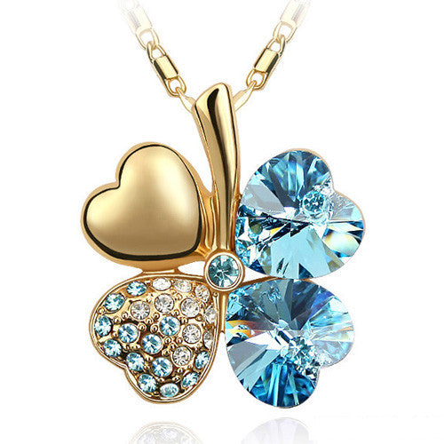 Free Shipping Factory Wholesale Price 18K GP Austrian Crystal Clover 10 colors mixed 4 Leaf Leaves pendant Necklace jewelry 9554 - Cerkos  - 4