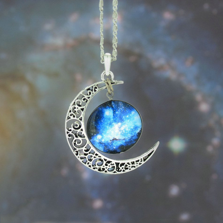 Galaxy Necklace Lovely Moon Galaxy Nebula Space Antique Silver Alloy Pendant Platinum Plated Chain Necklace Couple Gift 2014 HOT - Cerkos  - 8
