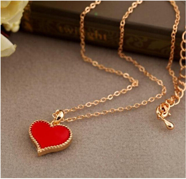 NK147 Fashion Hot New Gossip Girl Serena red hearts with love necklace clavicle chain models Clover Wholesales - Cerkos