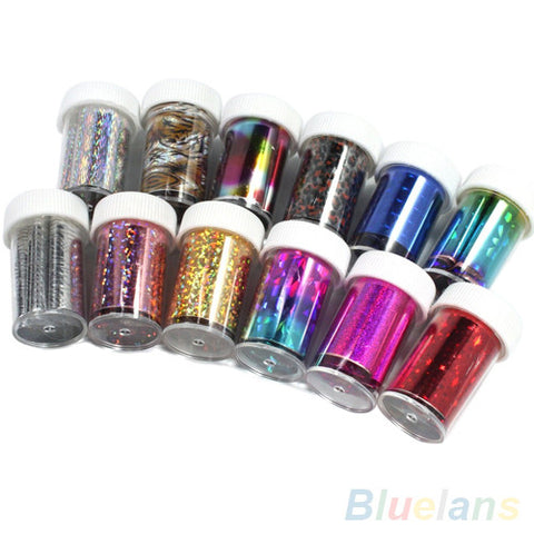12 Colors Nail Art Transfer Foil Sticker Tips For Nail Tips Decoration - Cerkos.com