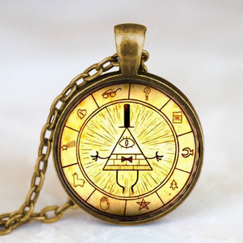 Steampunk Drama Gravity Falls Mysteries BILL CIPHER WHEEL Pendant Necklace glass doctor who chain 1pcs Glass men Pendant jewelry - Cerkos  - 1