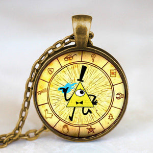 Steampunk Drama Gravity Falls Mysteries BILL CIPHER WHEEL Pendant Necklace glass doctor who chain 1pcs Glass men Pendant jewelry - Cerkos  - 7