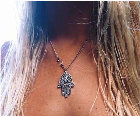 1PCS Fashion Crystal Celebrity Hamsa Fatima Hand Evil Eye Charm Pendant Chain Necklace Luck Jewellery - Cerkos.com