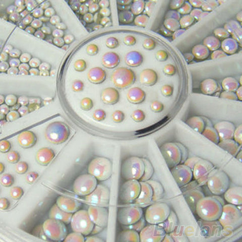 1000 Pcs/set  3 sizes White Multicolor Acrylic Glitter Rivets Nail Art  Rhinestone Decoration - Cerkos.com