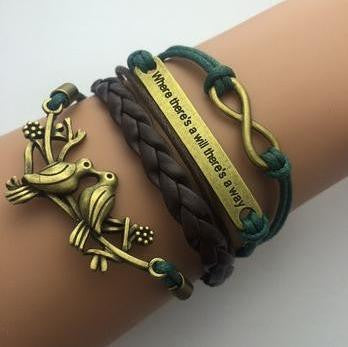 AB076 Fashion jewelry leather Double infinite multilayer bracelet factory price wholesales - Cerkos  - 10