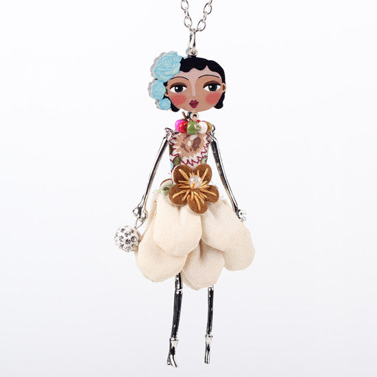 Bonsny doll necklace dress coral trendy new 2015 acrylic alloy cute girl women flower figure pendant fashion jewelry accessories - Cerkos  - 7