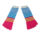 Wiggle Socks Creative Fashion Stripe Middle Tube Socks Women Stripe Cotton Casual Socks Daily Sports GYM Five Toe Socks - Cerkos  - 6