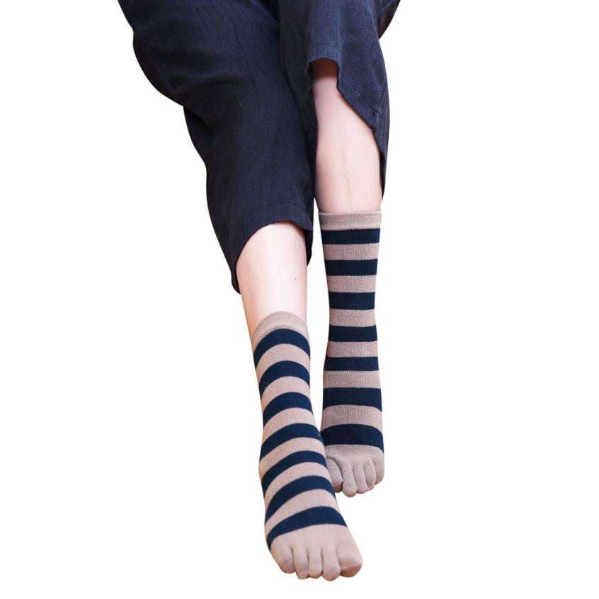 Wiggle Socks Newly Design Causual Striped Long Striped 5 Toes Socks Cotton Socks - Cerkos  - 1