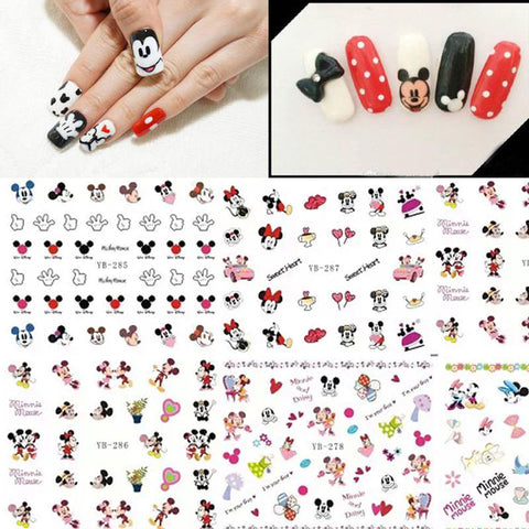 1 Lot = 12 Sheets Different Mickey Minnie Pattern Water Nails Transfer Decal Stickers Fashion Lovely Cartoon Sticker YB277-288 - Cerkos.com