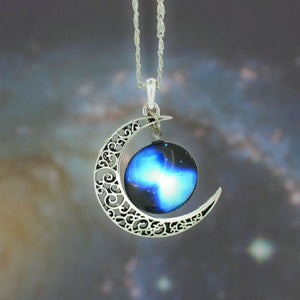 Galaxy Necklace Lovely Moon Galaxy Nebula Space Antique Silver Alloy Pendant Platinum Plated Chain Necklace Couple Gift 2014 HOT - Cerkos  - 11