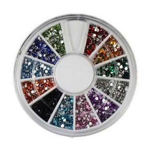 12 Colors Nail Art rhinestones Acrylic Nail Decoration 2mm For UV Gel Iphone and laptop DIY - Cerkos.com