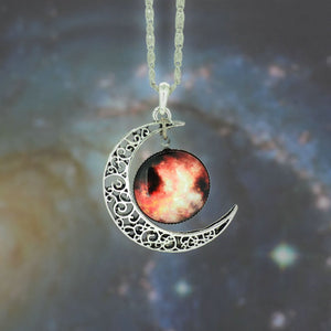 Galaxy Necklace Lovely Moon Galaxy Nebula Space Antique Silver Alloy Pendant Platinum Plated Chain Necklace Couple Gift 2014 HOT - Cerkos  - 9