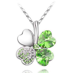 Free Shipping Factory Wholesale Price 18K GP Austrian Crystal Clover 10 colors mixed 4 Leaf Leaves pendant Necklace jewelry 9554 - Cerkos  - 2