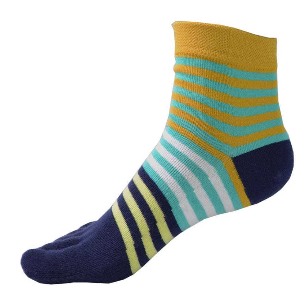 1 Pair Women Cotton Socks Five Finger Toe Stripe Middle Tube Running Sports socks 2015 Calcetines sale - Cerkos.com