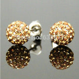 Free Shipping 19 Color 10MM New Shamballa Earrings Micro Disco Ball Shamballa Crystal Stud Earring For Women Fashion Jewelry - Cerkos  - 8