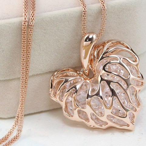 Newly Fashion Women Hollow Gold Silver Heart Crystal Rhinestone Pendant Long Chain Necklace Sweater Necklace Free shipping - Cerkos  - 1