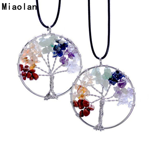 New Fashion Jewelry Natural Stone Circular Border Pattern Rice-like Tree Pendant Necklace  Party Wedding Christmas Gifts - Cerkos  - 1