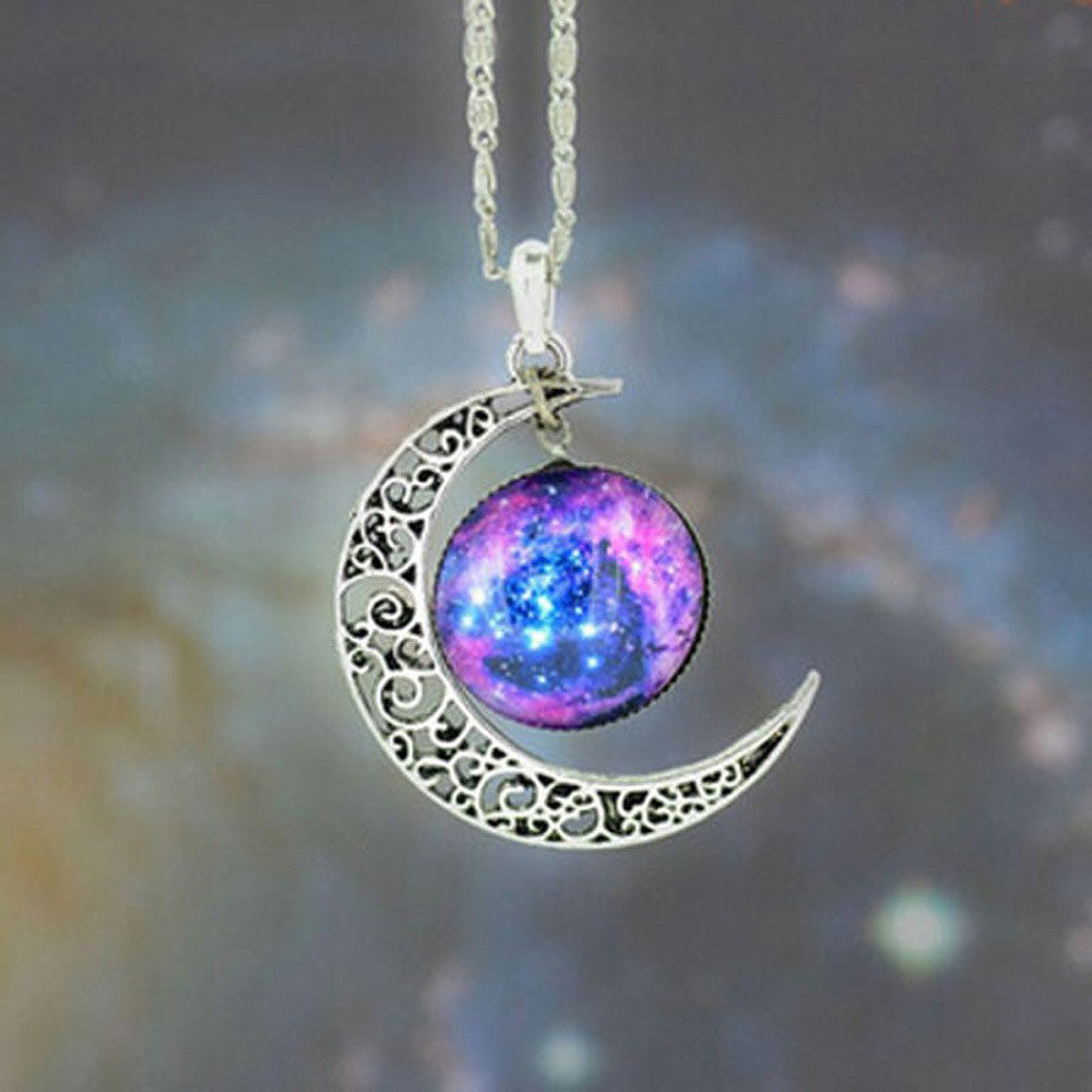 Brand Fashion Jewelry Choker Necklace Glass Galaxy Lovely Pendant Silver Chain Moon Necklace & Pendant - Cerkos  - 11