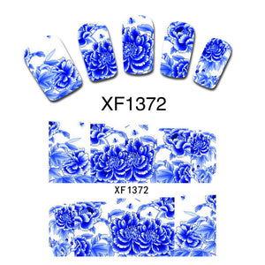 Blue Peony Flower False Nail Art Accessory Wrap Decals Water Transfer Wraps Stickers DIY Gift XF1372 - Cerkos.com